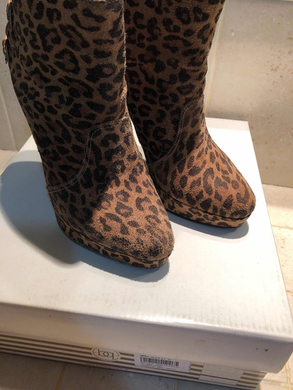 Bota Gamuza Leopardo Blaque Talle 36