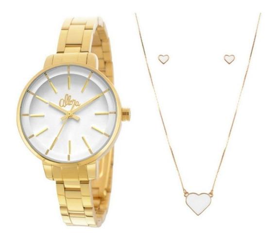 Relógio Feminino Allora Dourado Com Brinco E Colar Original
