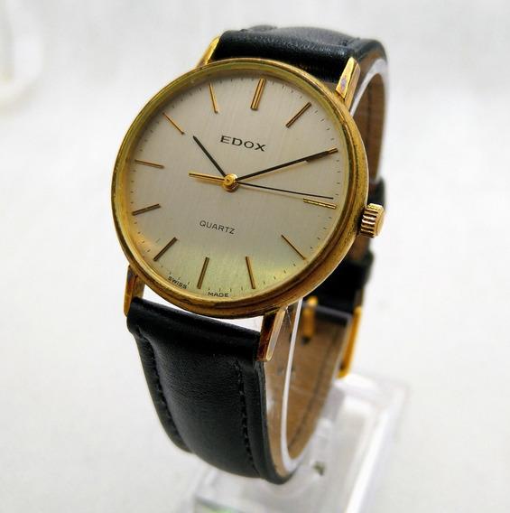 Relógio Suiço Edox Plaque De Ouro, Raridade Lindo. Masculino