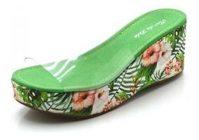 Sandália Anabela Transparente Salto Médio Floral Verde