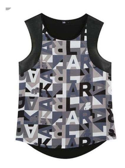 Blusa Camiseta Regata Feminina Couro Karl Lagerfeld 40