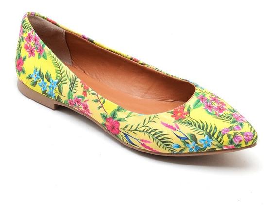 Sapatilha Feminina Confortável Floral Amarela Original 100