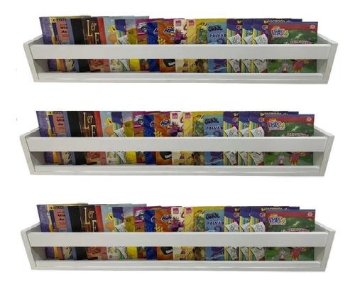Kit De 03 Prateleiras 68x15cm Livro Revista Inf. Parede Mdf