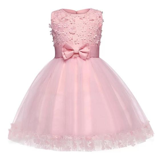 Vestido Niña Bebé Fiesta Rosa Pastel Corto