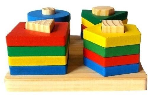Imagen 1 de 3 de Juego Encastre Geométrico Didáctico Bloques Madera