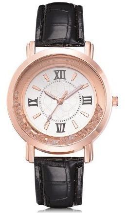 Relógio Com Pedras Zirconia De Luxo Pulseira Couro Dourado