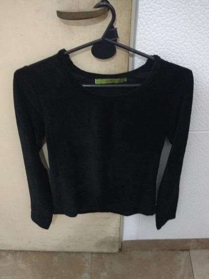 Camiseta De Corderoy Negra Marca Rapsodia Talle M