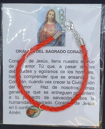 Pack 50 Pulsera Del Sagrado Corazón, Cordón, Hecha A Mano.