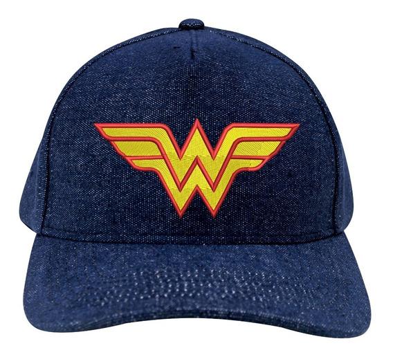 Boné Universitário Aba Curva Mulher Maravilha Wonder Woman