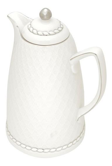 Garrafa Térmica Em Porcelana Wolff 900ml 28cm Branco/prata
