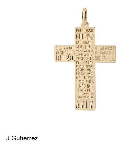 Pingente Rommanel Cruz Com Escrita Do Pai Nosso (542168)