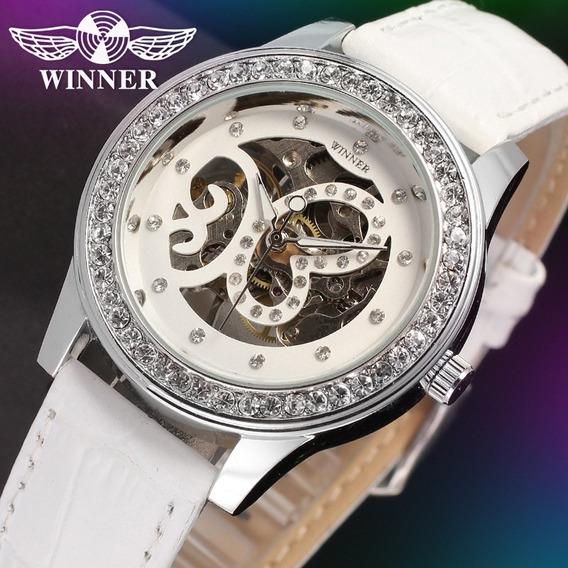Relógio Feminino Luxo White Skeleton Wrl8009m3s2 Frete Gráts