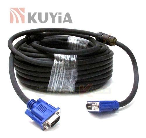 Imagen 1 de 3 de Cable Vga De 25 Metros Machos Kuyia C/ Doble Filtro 15 Pines