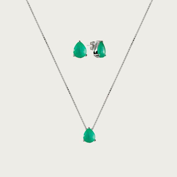 Conjunto Gota De Prata Com Zircônia Verde