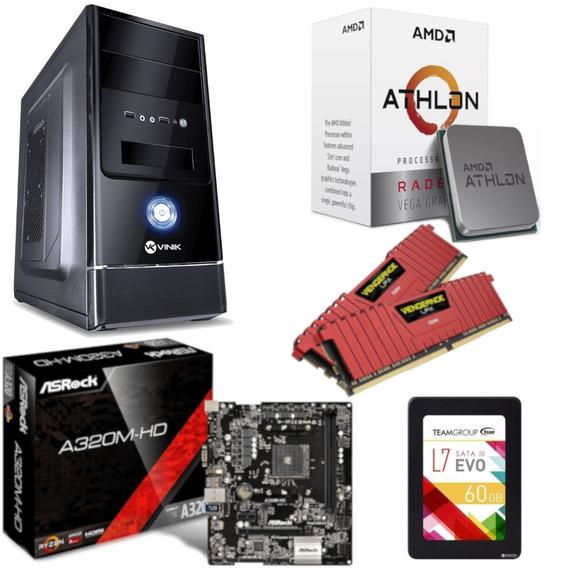 Pc Completo G1 One Athlon 200ge A320m Hd Vg 16gb Ssd 60gb