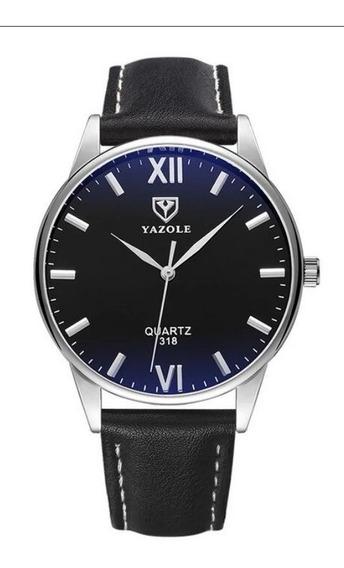 Reloj Hombre Cuero Acero Casual Yazole 318