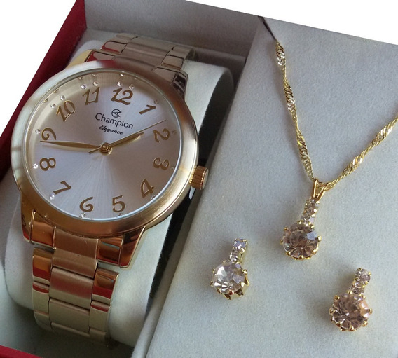 Kit Relógio Feminino Champion Dourado Cn26000w Original Nf
