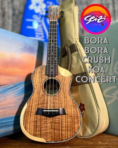 Ukulele Seizi Bora Bora Crush Concert Acústico Koa Com Bag