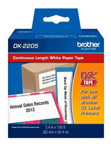 Etiqueta Brother Dk-2205 Rolo Contínuo 62mm X30m Ql700 Ql570