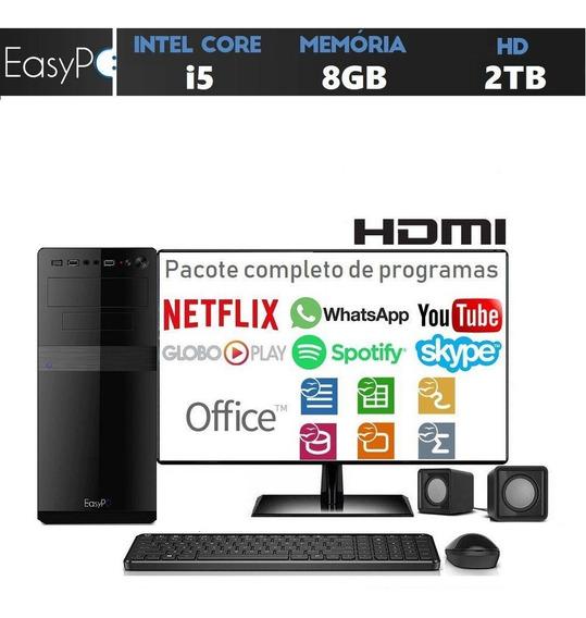Computador Desktop Completo Com Monitor Led Hdmi Intel Core I5 8gb Hd 2tb Com Caixas De Som Mouse E Teclado Easypc Stand