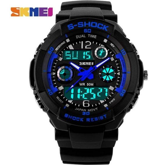 Relógio G Shock Skmei 0931 Masculino Azul Prova De Água