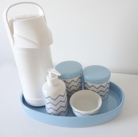 Kit Higiene Bebe Chevron Azul E Cinza Bandeja E Garrafa Térmica