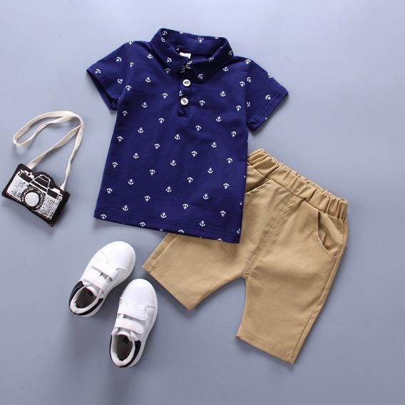 Roupa Infantil Menino Conjunto Camisa E Bermuda Marinheiro