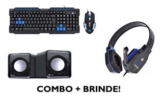 Kit Gamer Teclado Mouse Headset Caixa De Som + Brinde
