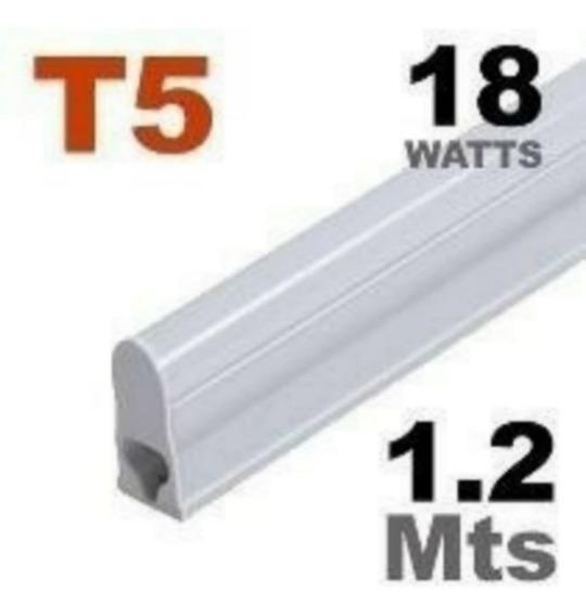 60 Tubular T5 18w 1,20cm Com Calha - 6500k Branca Fria
