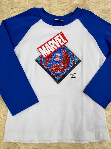 Remera Manga Larga Lentejuelas Nene Advengers Iron Man Hulk