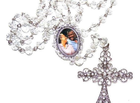 Terço Rosário Cristal Crucifixo Medalha Relicario Com Foto