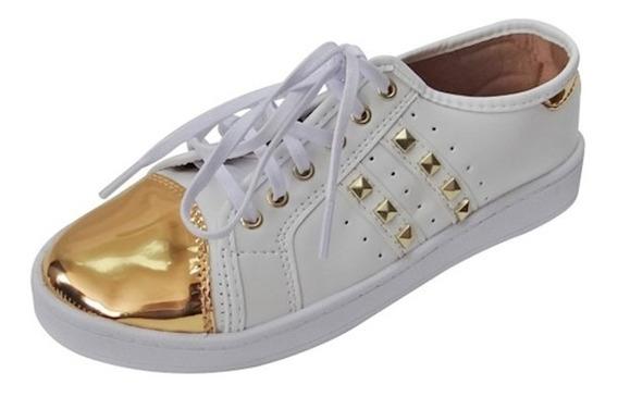 Tênis Captoe Specchio Com Spike - Branco E Dourado