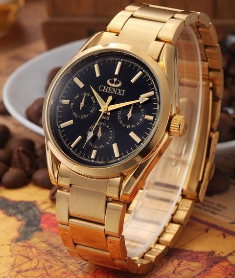 Relógio Masculino Chenxi Dourado Quartzo De Luxo Dos Famosos