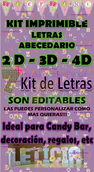 Kit Imprimible Letras 2d 3d Y 4d Personalizables 7 Kits X1!!
