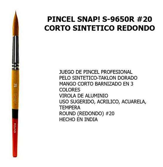 Pincel Snap! S-9650r#20 Corto/sintetico Redondo 1 Pieza