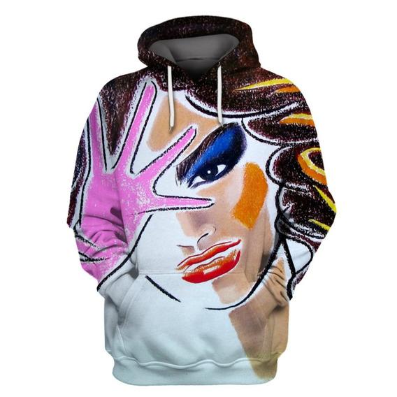 Blusa Moleton Feminina Com Capuz Impressão 3d Importada - M
