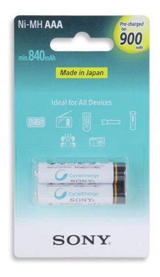 Pilha Recarregável Aaa 2 Unidades 900 Mah 1.2v Sony B2gn