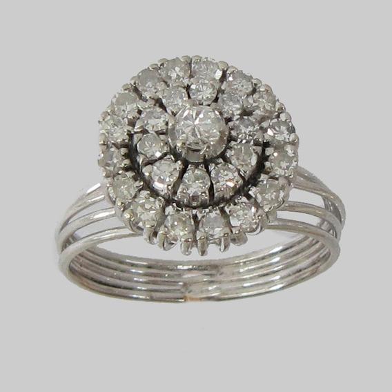 5000 Anel Chuveiro De Ouro Branco 18k 750 Tem 27 Diamantes