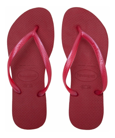 Havaianas Original Slim Rojo Oscuro Para Mujer 35 Al 40