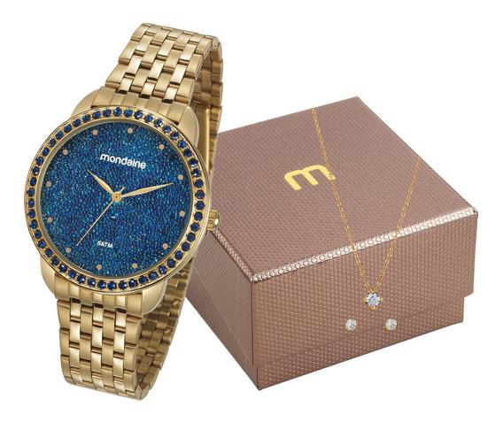 Relógio Mondaine Fundo Azul + Colar E Brinco 53712lpmvde1 Nf