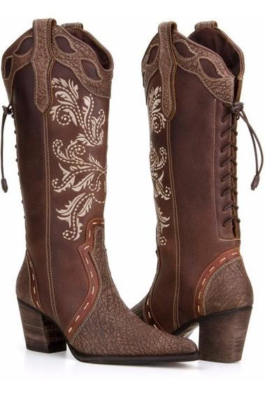 Bota Country Feminina Texana Bordada Couro Capelli Boots