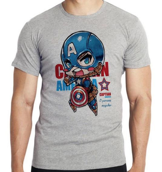 Camiseta Infantil Kids Mini Capitão América Vingadores Marve