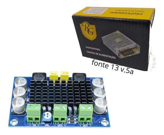Kit Placa Amplificador+fonte Para Caixa D Som 100wrms 4ohms