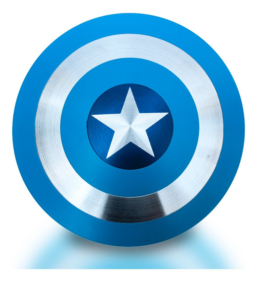 Escudo Do Capitão América Feito Em Alumínio Azul Com Alças