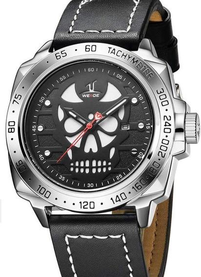 Relógio Masculino Weide Uv-1510- Pulseira De Couro- Original