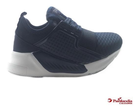Zapatillas Gummi Elastico Infantiles Deportivas Azul/gris N°27/34