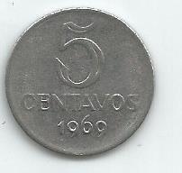 Moeda 5 Centavos De 1969 Antiga
