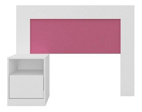 Cabeceira Solteiro Com Criado Mudo London Branco/rosa-lc Móv