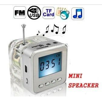 Imagen 1 de 6 de Mini Parlant Fm Usb Sd  Led Para iPhone iPad iPod Mp3 Pc