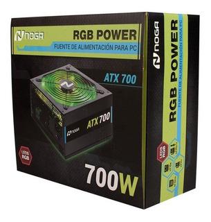 Fuente Noganet Rgb 700w Led Cooler 120mm 2x6 Pines +2 Video